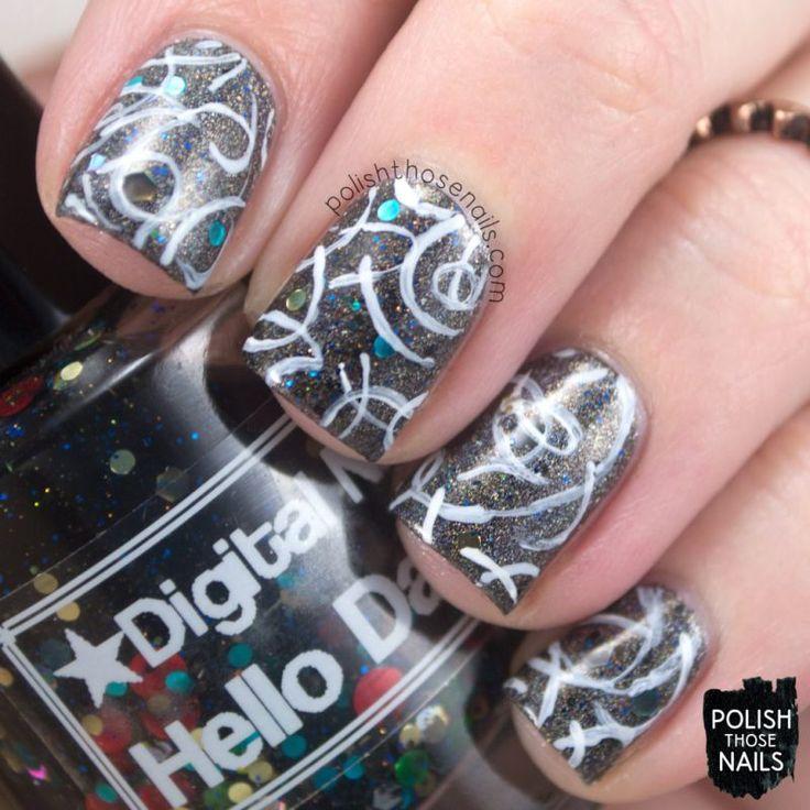 Hello Squiggles // Polish Those Nails // The Digit-al Dozen - Stamping // Inspired by Lina Nail Art Supplies's Make Your Mark 02 plate // nail art - indie polish - digital nails - polish 'm - fair maiden polish