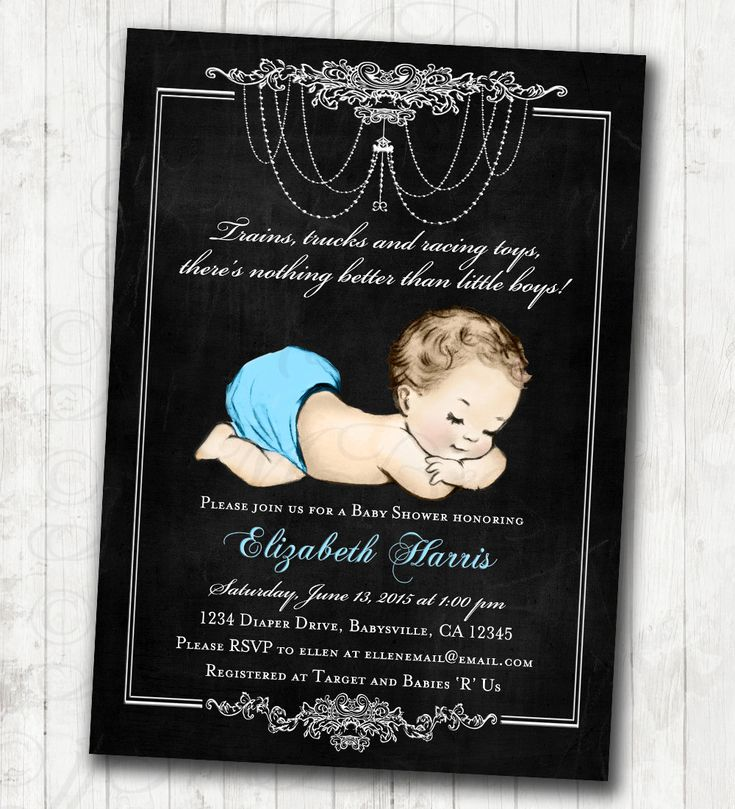 unique homemade baby shower invitation ideas%0A Chalkboard Baby Shower Invitation for baby boy blue vintage antique french baby  shower  DIY Printable