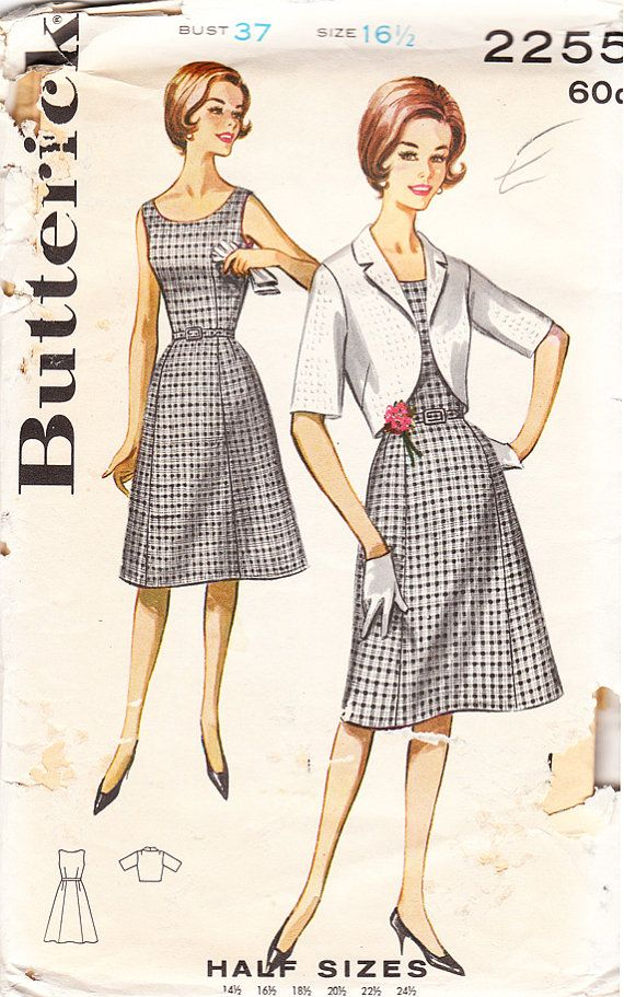 Vintage Misses' and Women's Belted Sheath Dress and Bolero Jacket - 1960s Butterick Sewing Pattern No. 2255 - Size 37 Bust: Patterns Designs, 1960S Butterick, Patterns Recognition, Sheath Dress, Vintage Patterns, Sewing Patterns