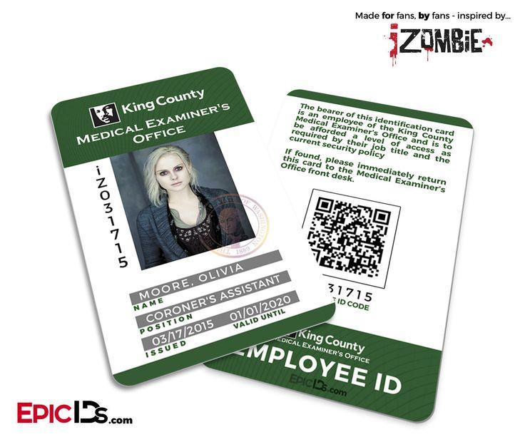 "iZombie TV Series Inspired ""Olivia (Liv) Moore"" Medical Examiners Office Employee ID (Rev 1)"