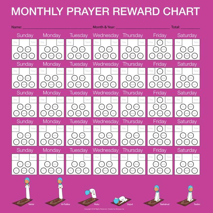 Monthly Prayer Reward Chart - Girl