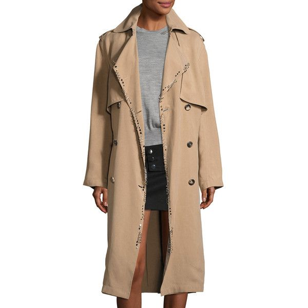 Alexander Wang Slouchy Pierced Trench Coat ($2,500) ❤ liked on Polyvore featuring outerwear, coats, beige, trench coat, slouchy coat, oversized trench coat, button coat and double breasted coat