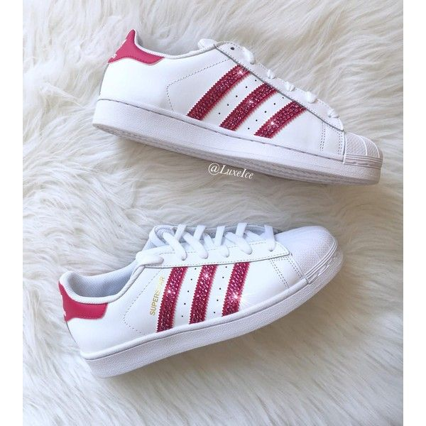 Adidas Original Superstar white/bold Pink With Swarovski Xirius... (2,625 EGP) ❤ liked on Polyvore featuring shoes, sneakers, silver, sneakers & athletic shoes, women's shoes, white trainers, pink sneakers, white shoes, white sneakers and pink trainers