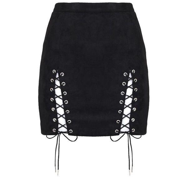 Suede Lace-Up Mini Skirt Black ($34) ❤ liked on Polyvore featuring skirts, mini skirts, short suede skirt, suede leather skirt, lace up skirt, short skirts and mini skirt