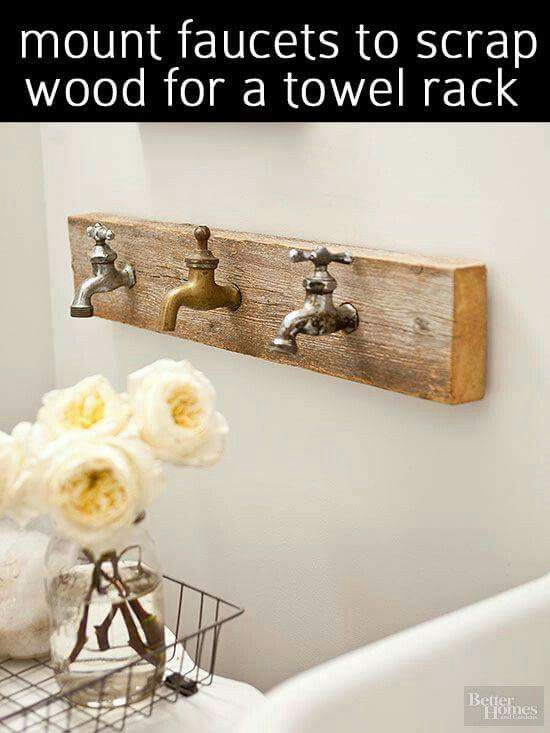 Such a cool idea for bathroom towel hooks. Reuse old traditional taps to create this superb bathroom feature which looks great and is so practical too!