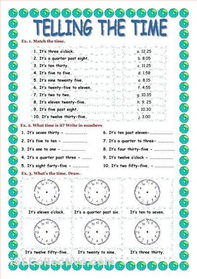 telling the time worksheet telling time printables pinterest exercise. Black Bedroom Furniture Sets. Home Design Ideas