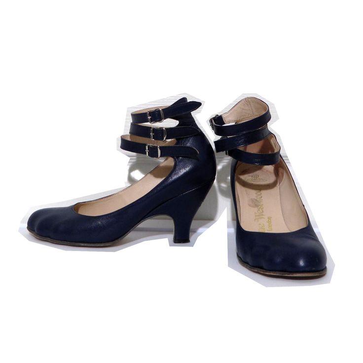 Vivienne Westwood Gold Label Low Heel Three Strap Pumps in Blue