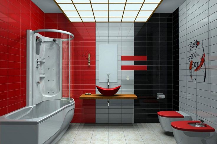 Bathroom : Contemporary Bathroom With Red Vessel Sink And Wooden Floating Countertop Bathtub Shower Also Red White And Black Ceramic Wall Tiles Flooring Ideas Beautiful Modern Contemporary Bathroom Design Ideas For Dazzling Look