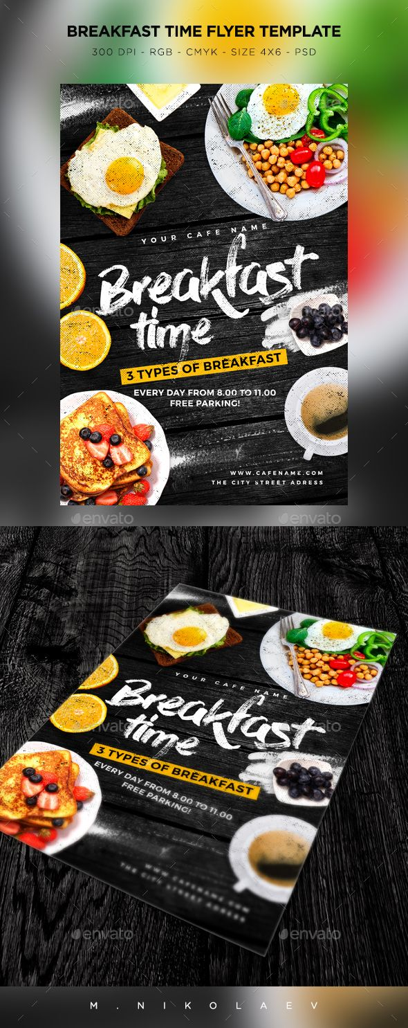Breakfast Time Flyer — Photoshop PSD #4x6 #brunch • Download ➝ https://graphicriver.net/item/breakfast-time-flyer/19288355?ref=pxcr