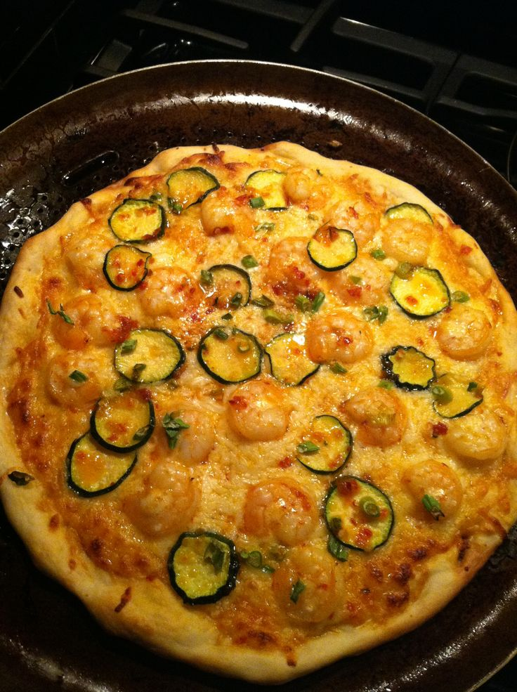 ... of honey to balance the spice, sautéed shrimp & zucchini, scallions