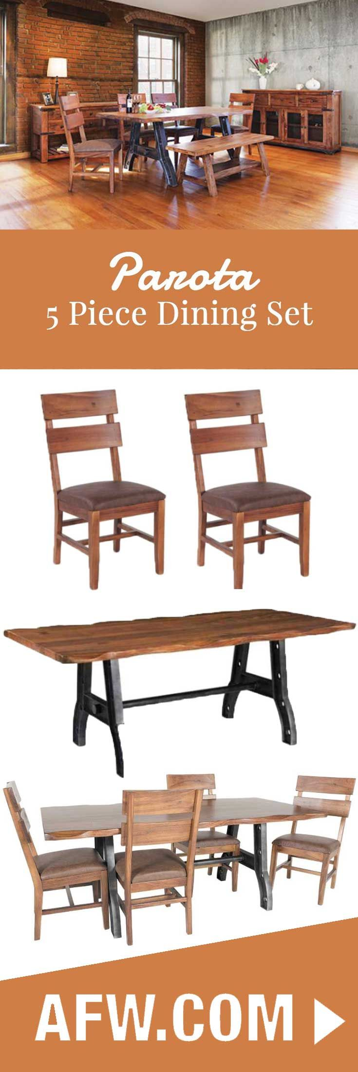 The Parota 5 Piece Dining Room Set By Artisan Home Offers A Rustic And Industrial