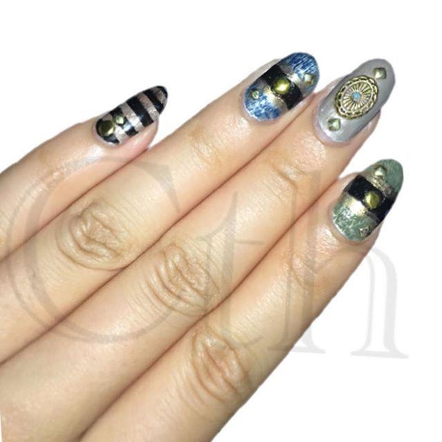 ブラック&ブラウン×ブルー&ブラック&ゴールド×グレー×グリーン&ブラック&ゴールド  #マニキュア #セルフネイル #ネイル #ネイルデザイン  #selfnail  #nail #naildesign #nailstagram #過去ネイル  #過去nail #instanail