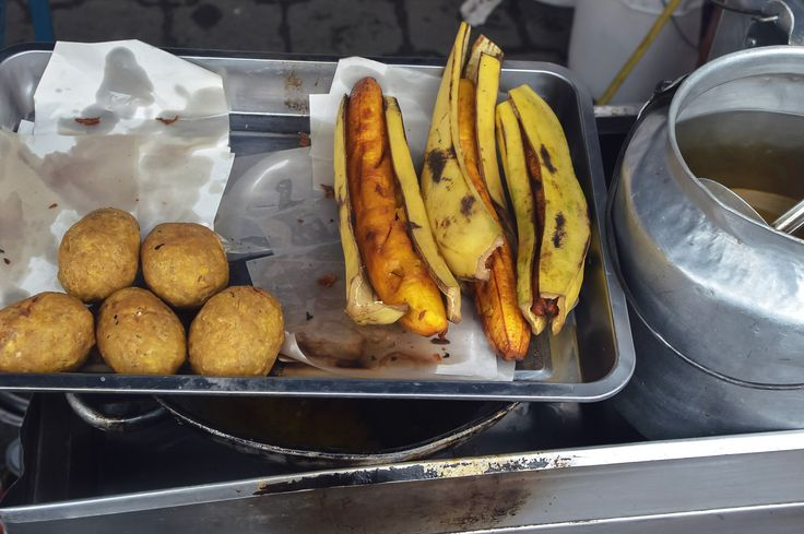 Bolones and grilled plantain at Otavalo Market, Ecuador | heneedsfood.com