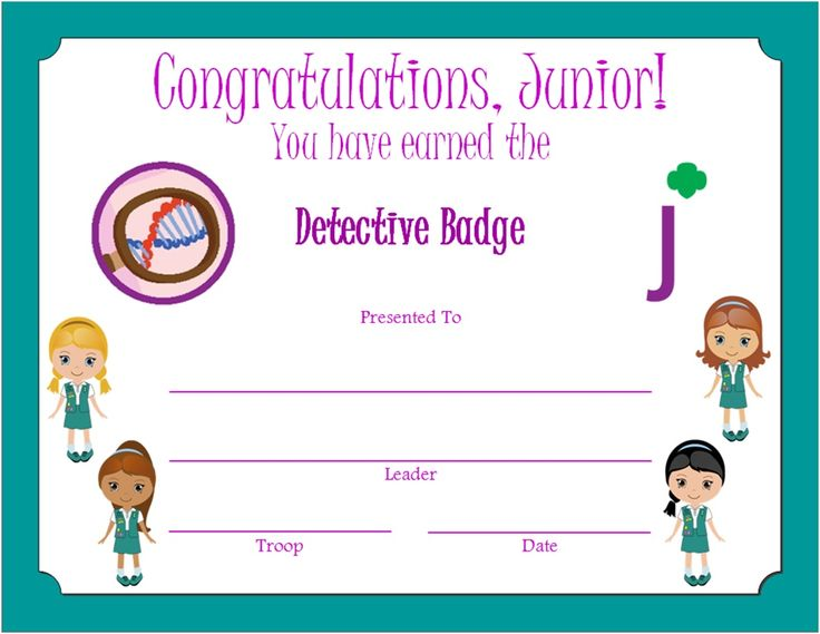 232 best Girl Scout certificates images on Pinterest Brownie - congratulations certificate