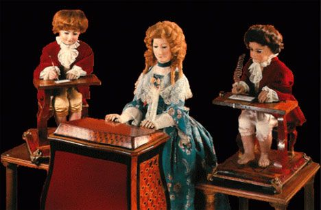 Full sized 18th century automata of Pierre Jaquet-Droz . The Musician (playing an organ, not a piano), The Draughtsman and The Writer are three mechanical dolls built by Jaquet-Droz, his son Henri-Louis and Jean-Frederic Leschot between 1768 and 1774 as advertisements for sophisticated watches. Their mechanisms are shockingly advanced for their time, and today they are thought of as distant ancestors of the modern computer. All three currently reside in the Musée d'Art et d'Histoire of…