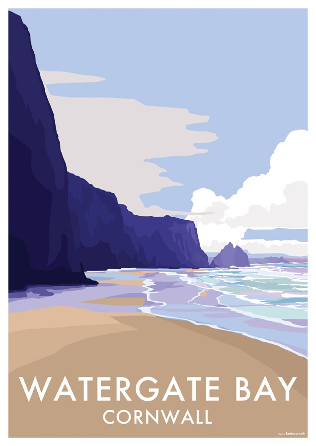 Watergate Bay travel poster and seaside print by Becky Bettesworth