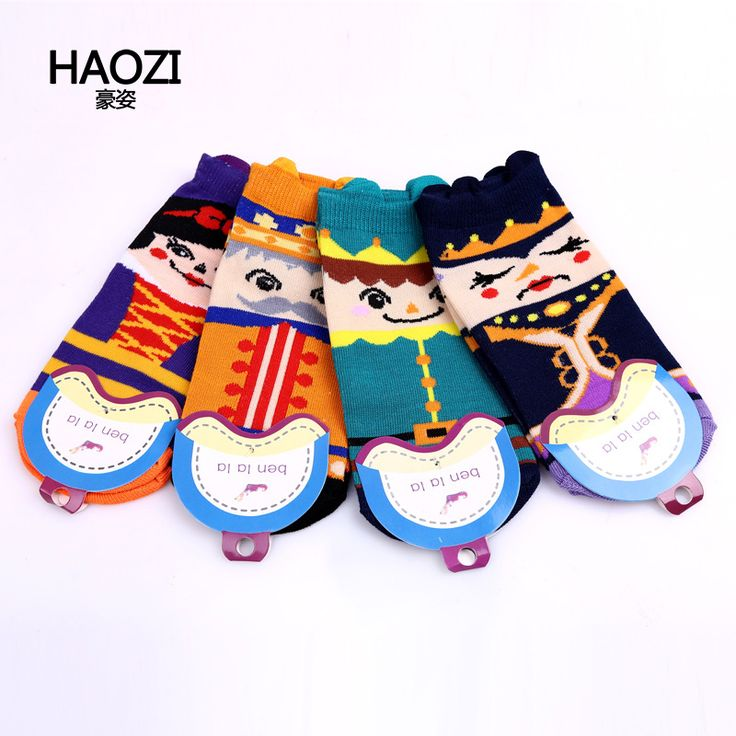 HaoZi 2016 New spring/winter South Korean Cute Cartoon image of the royal women Ship socks Brand breathable cotton socks #DW-008