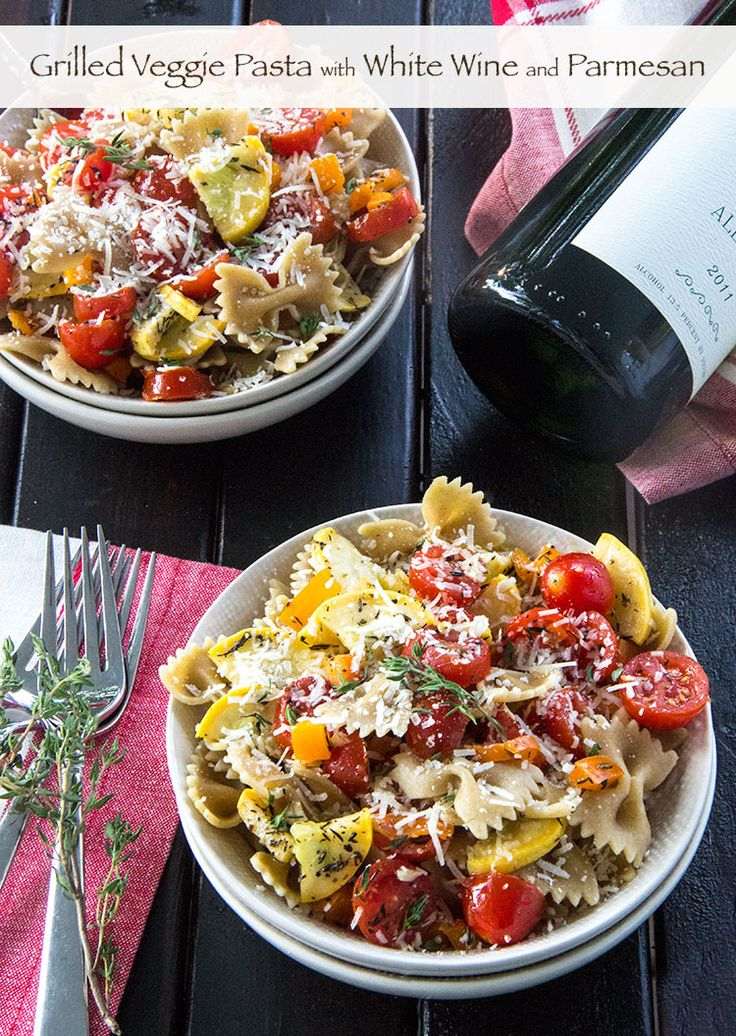 Grilled Vegetable Pasta with White Wine and Parmesan | Easy summer pasta recipe for the grill | The Scrumptious Pumpkin