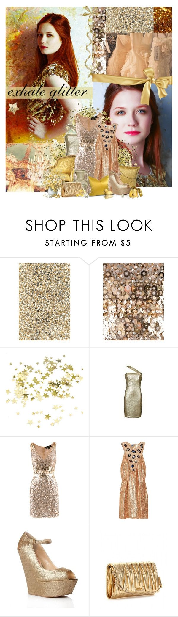 """""""[The Brit Chicks Challenge] 9. Bonnie Wright"""" by ruh-dias ❤ liked on Polyvore featuring Anya Hindmarch, Jenny Packham, Twenty, Missoni, Eda, Lipsy, Miu Miu, sequins, sequined dresses and glitter"""