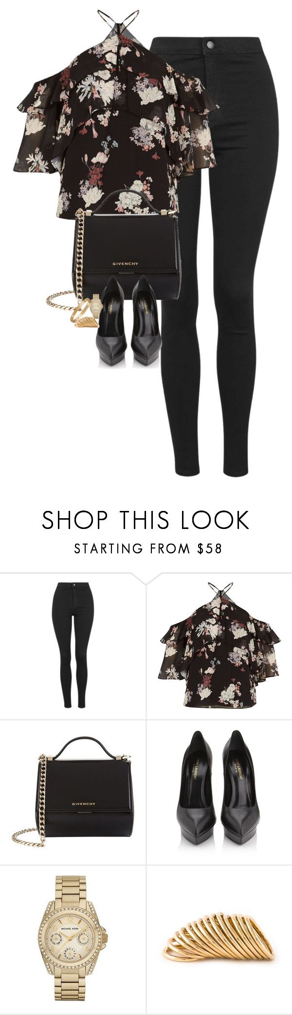 Untitled #1252 by lovetaytay ❤ liked on Polyvore featuring Topshop, River Island, Givenchy, Yves Saint Laurent, Michael Kors and Shaun Leane