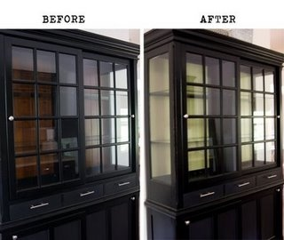 Black china hutch with window cabinets painting the inside of your hutch white makes all the - Difference shell house turnkey ...