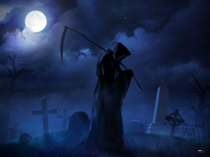 dark fantasy reaper cross weapon scythe cemetery grave