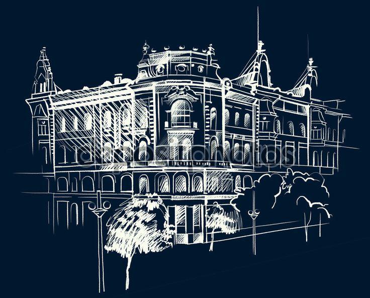 Архитектурный эскиз белых чернил и карандаша на черной бумаге. фон .black. подробный рисунок. черный фон — Фото автора allween