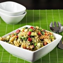 Healthy Pasta Salad: Pasta Salad, Pasta Recipes, Cilantro Dresses, Crunches, Belle Peppers, Healthy Pasta, Dinners, Greek Yogurt, Bowls