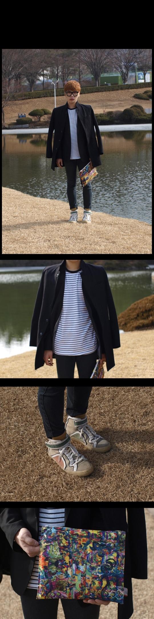 black jacket, striped tee, pouch  street fashion of seoul, korea
