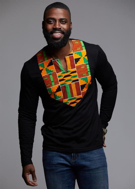 Omari Men's African Print Long Sleeve Shirt (Yellow Green Kente)-Clearance