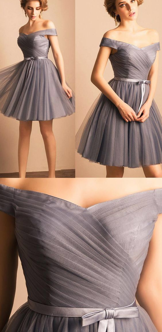 73d205f1 Tulle Homecoming Dress, Short Homecoming Dress, Grey Homecoming Dress, Off  Shoulder Prom Dress