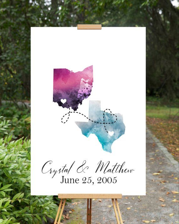 Watercolor States Guest Book Wedding Guest Book Alternative
