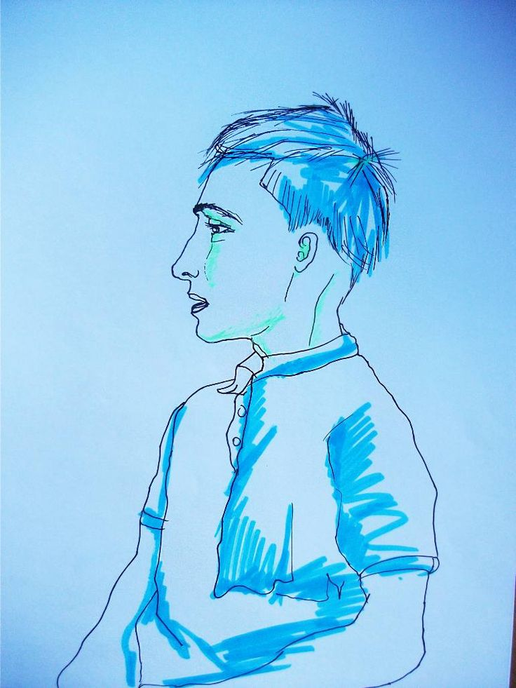 Buy Blue-blue boy, a Ballpoint Pen on Paper by Gella Goring from Russia. It portrays: Men, relevant to: portrait, blue, boy, linework, green, line, man, acid Suddenly my classmate became a kind of acid. Fabulously blue and green. It seems to be I must rest my chemistry.