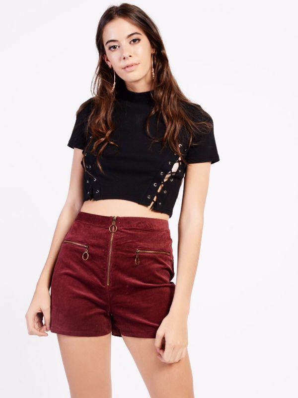 Velvet High Waist Shorts