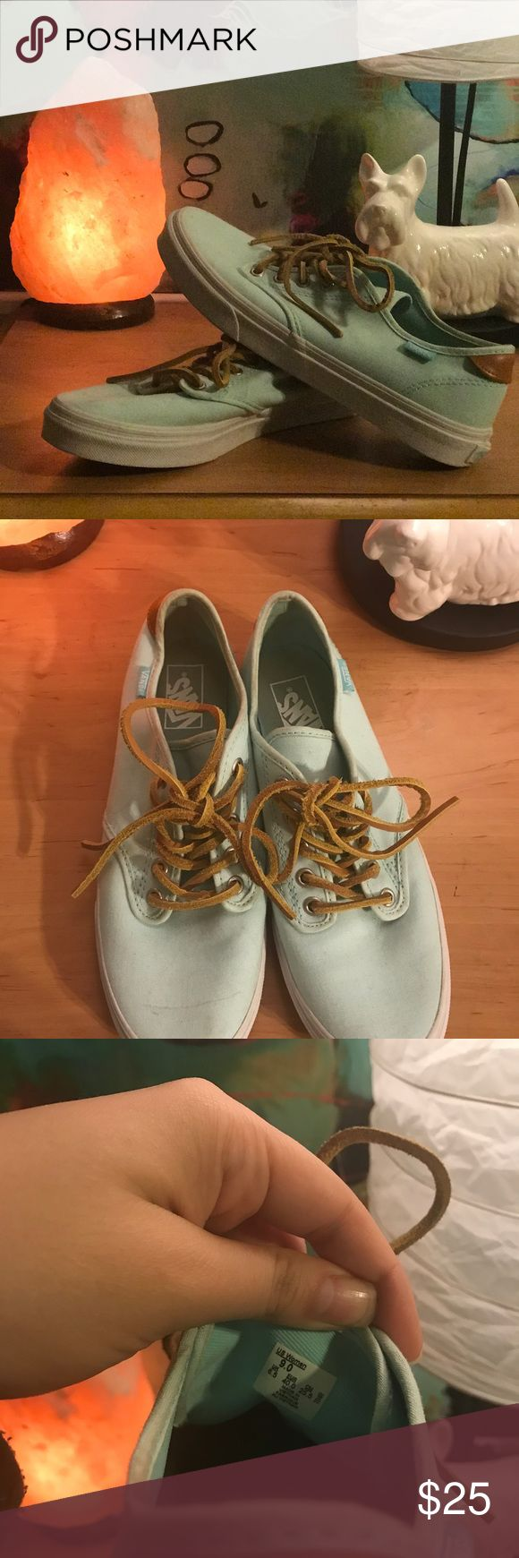 Mint Green Vans with Leather Laces Canvas vans, only worn once. Slight mark on right shoe (pictured) but could most likely be washed out. Super cute! Vans Shoes Sneakers