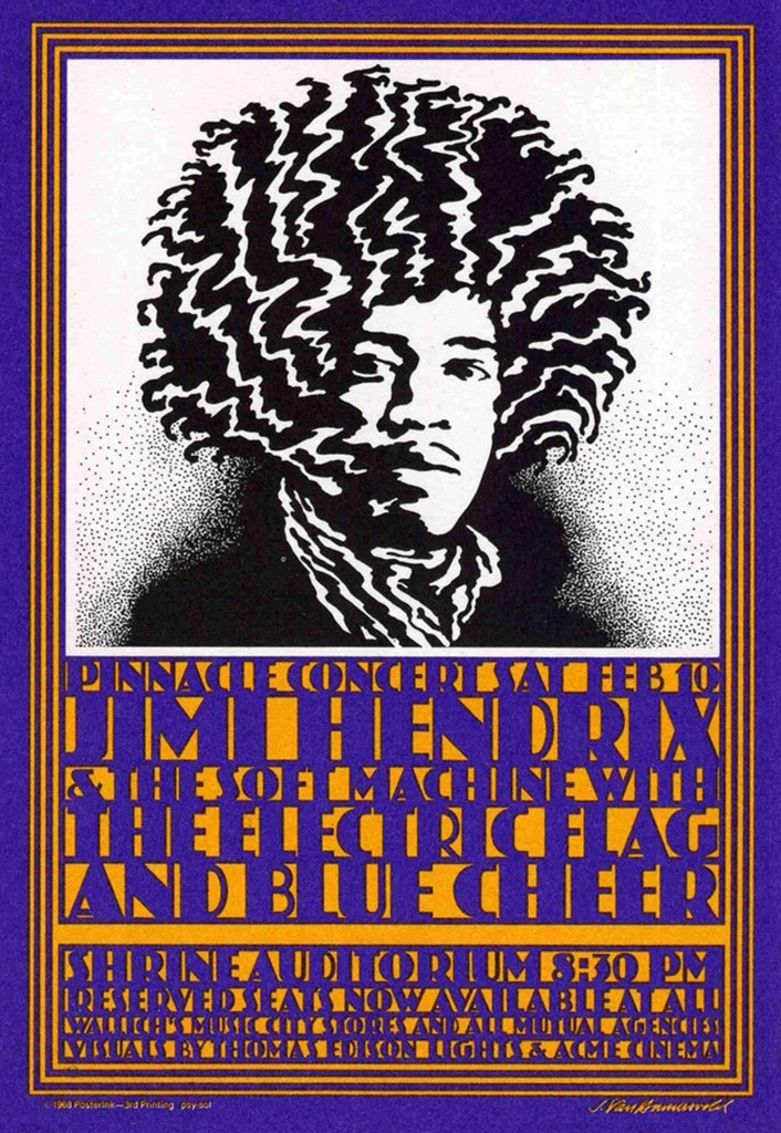 1968 Jimi Hendrix Concert Poster with The Soft Machine, The Electric Flag & Blue Cheer (Shrine Auditorium, Los Angeles, CA)