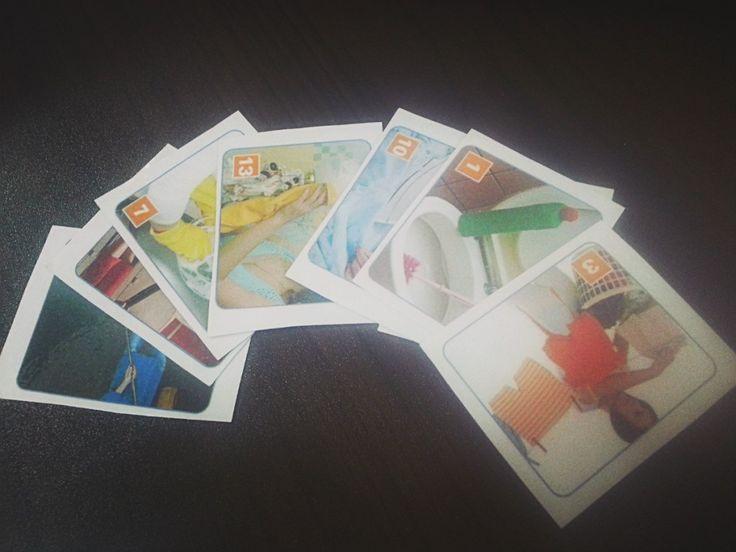 """Set de cartas creado para repasar el vocabulario de """"Tareas Domésticas"""". Cada imagen de cada actividad se repite 5 veces."""