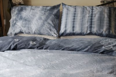 close-up of my bedding: Shibori Projects