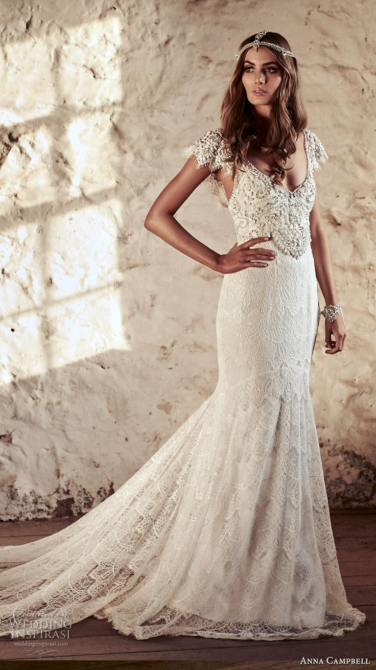 anna campbell 2018 bridal butterfly sleeves scoop neckline heavily beaded embellished bodice romantic elegant fit and flare wedding dress open v back short train (6) mv -- Anna Campbell 2018 Wedding Dresses
