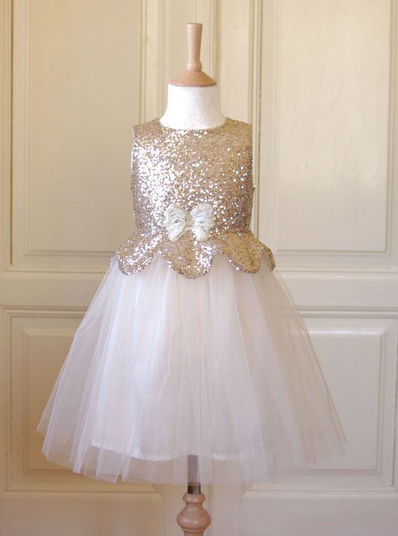 Pale Gold Flower girl Dress Wedding Winter Bridesmaid Communion Christmas Sparkle Tulle Sequin Pageant Party Bridal White