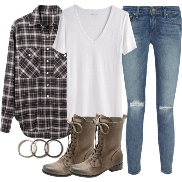 """Isaac Inspired Outfit with an Oversized Plaid Shirt"" by veterization on Polyvore"