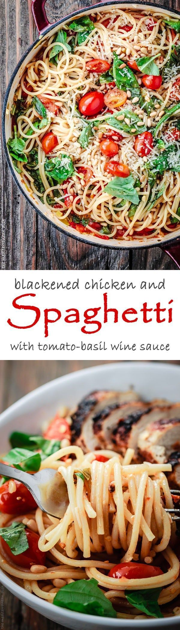 Blackened Chicken and Spaghetti Recipe with Tomato-Basil Wine Sauce. Try this perfect chicken and spaghetti dinner. Made with a light citrus wine sauce, fresh grape tomatoes and herbs. The perfect bite of comfort-by-carbs, but without the guilt!