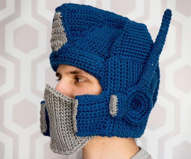 Crochet Pattern For Optimus Prime Hat : Crocheted Optimus Prime Helmet Crochet hat patterns ...