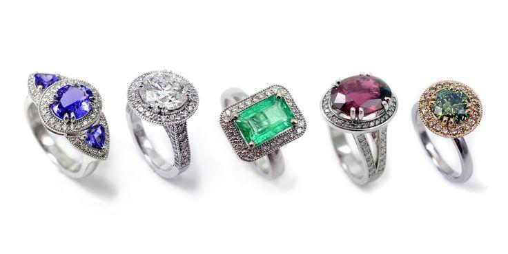 Tanzanite, diamond , emerald , rubbelit , moisanite rings.