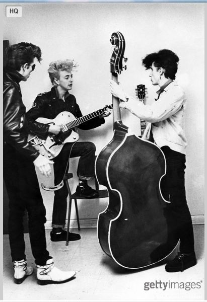 Slim Jim PHANTOM and Brian SETZER and Lee ROCKER sporting the Teddy-Boy quiff.