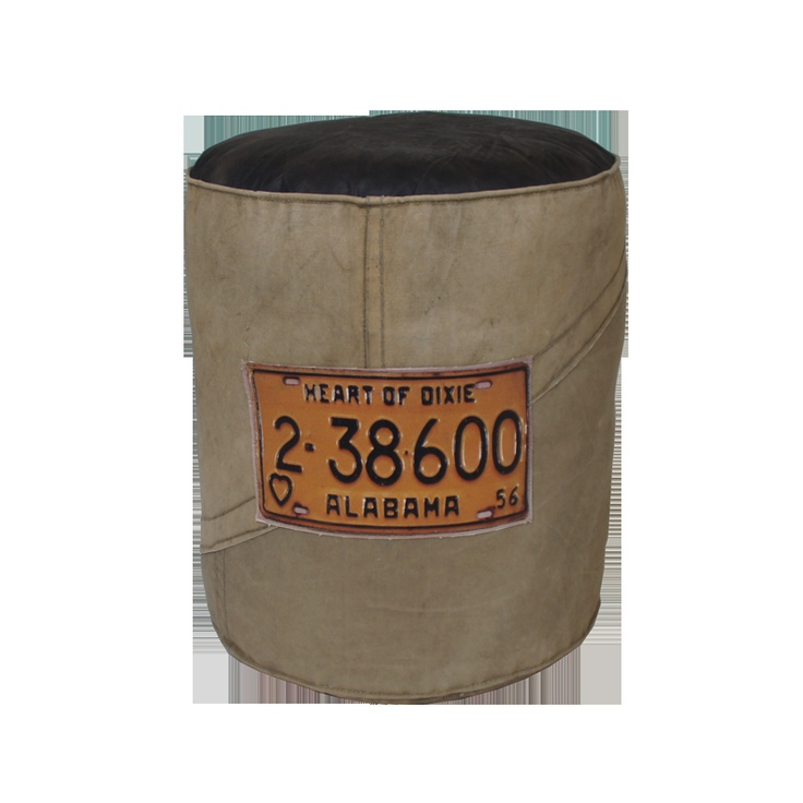 €99,- Canvas pouf with licence plate print. Available at http://www.klbr22.com/nl/poefen/canvas-poef-met-kentekenplaat