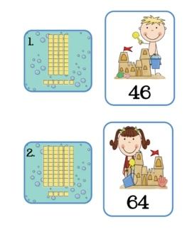 Practice place value using these beach themed base-ten cards.