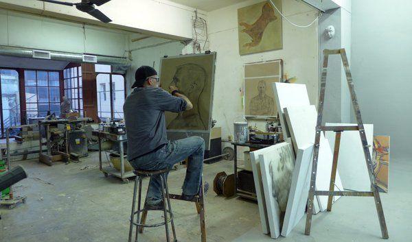 Stefan Blom | In my art studio completing Charcoal on paper of Tako Soulman
