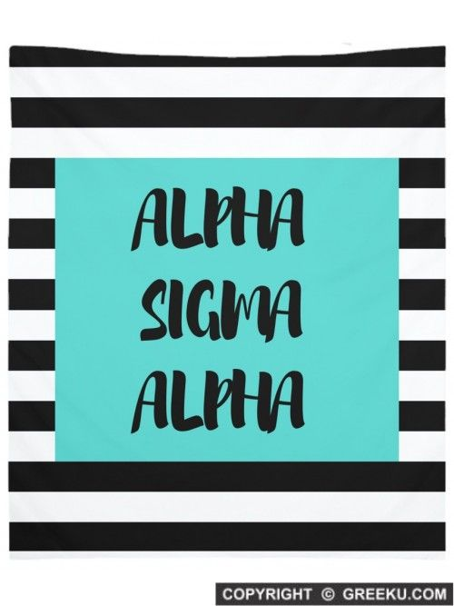 Sorority Black White Stripes Wall Tapestry: Shown in ALPHA SIGMA ALPHA, but can be customized for your sorority! Shop our brand new home decor section now!!
