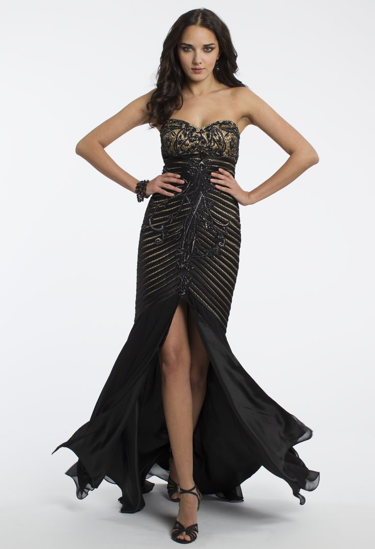 Camille La Vie Chiffon Piped Prom Dress with Front Slit Detail